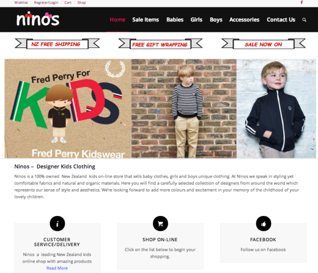 new kids clothing web design