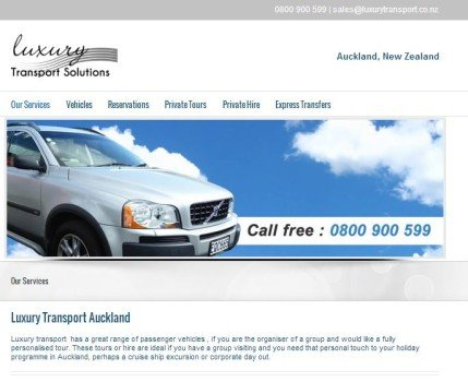 Luxury Transport Website design